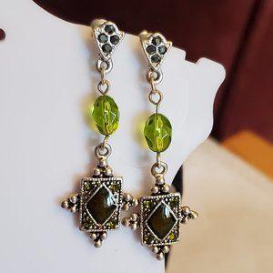 "1.5"" Silver Tone Ethnic Theme Dangle Stud Earrings"